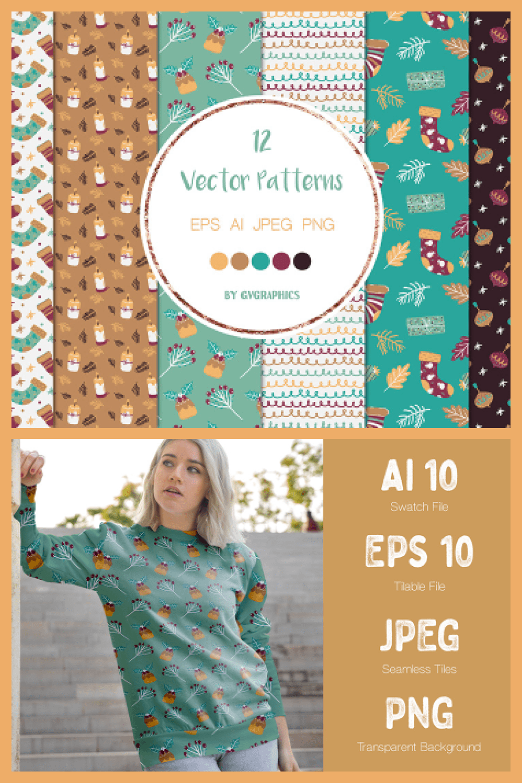 Christmas Winter Vector Patterns - MasterBundles - Pinterest Collage Image.