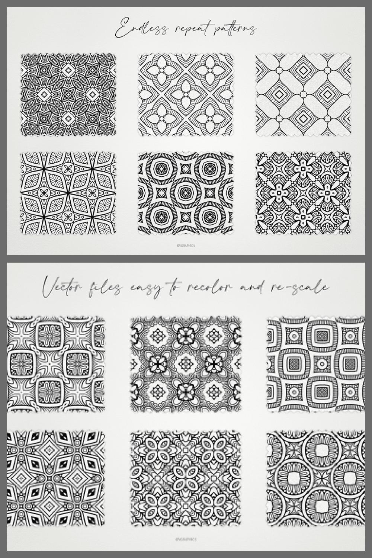 Monochrome Ornaments Vector Patterns Vol.1 - MasterBundles - Pinterest Collage Image.