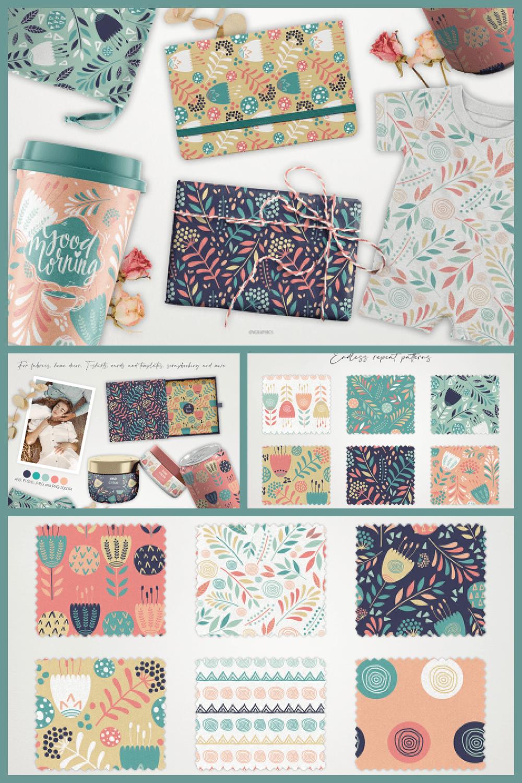 Flowers and Doodle Circles Vector Patterns - MasterBundles - Pinterest Collage Image.