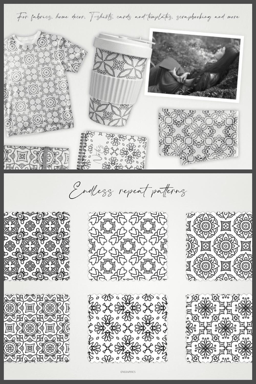 Monochrome Ornaments Vector Patterns Vol.2 - MasterBundles - Pinterest Collage Image.