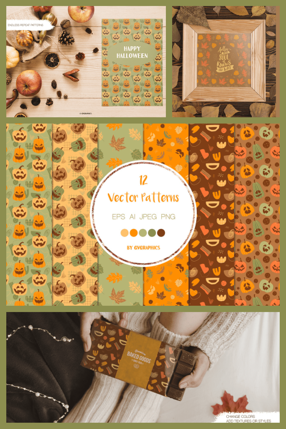 Halloween Pumpkins and Fall Leaves Vector Patterns and Seamless Tiles - MasterBundles - Pinterest Collage Image.