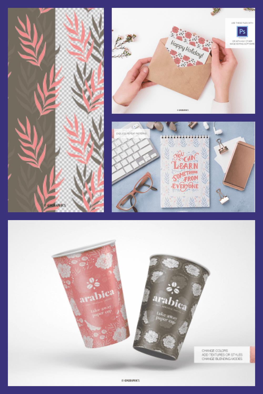 Garden of Joy Floral Backgrounds Seamless Patterns - MasterBundles - Pinterest Collage Image.