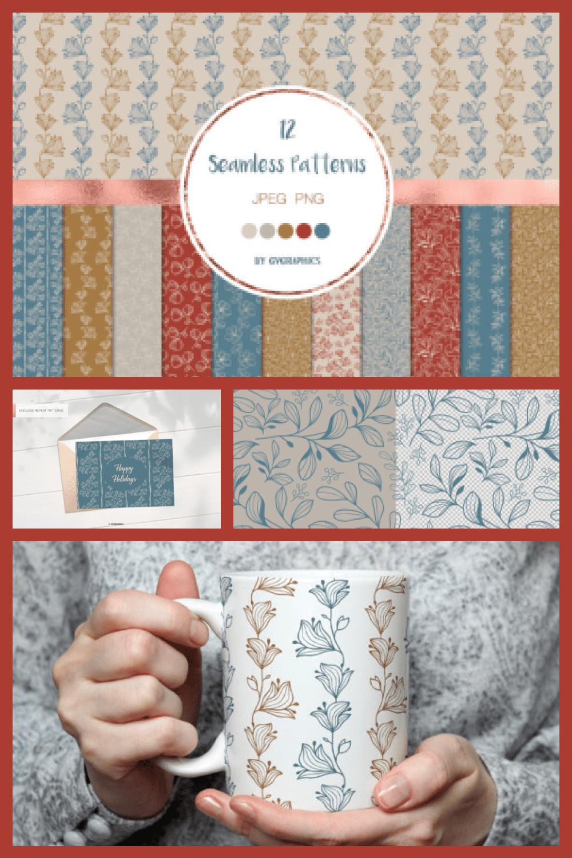 Delicate Flowers Botanical Seamless Patterns - MasterBundles - Pinterest Collage Image.