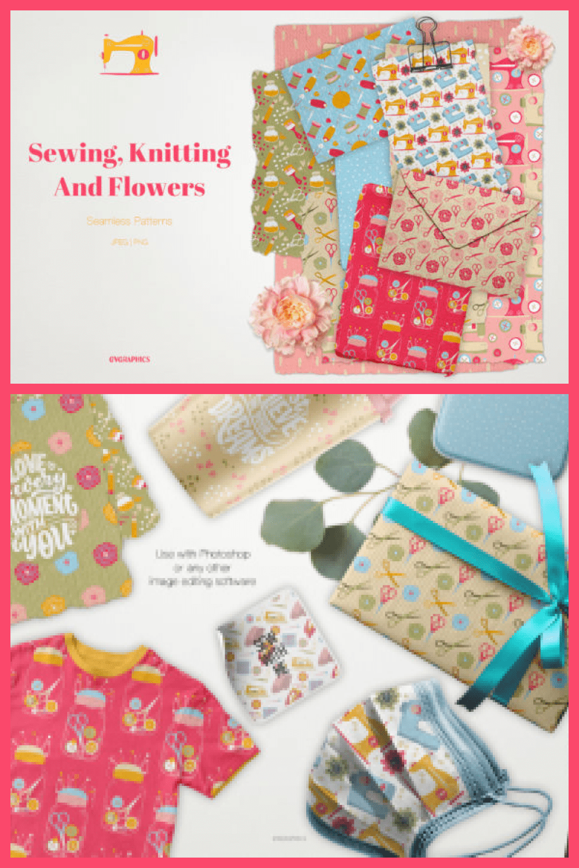 Sewing, Knitting and Flowers Seamless Patterns - MasterBundles - Pinterest Collage Image.