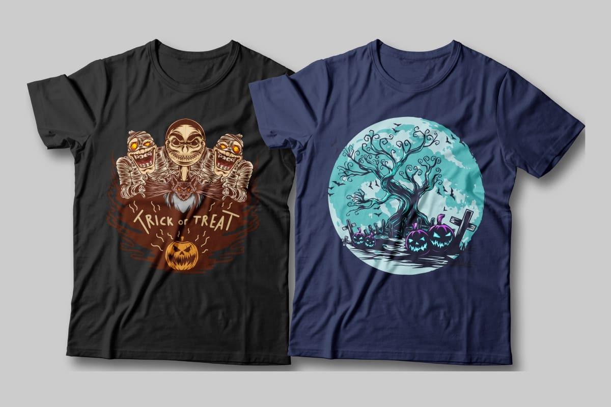Halloween Spooky Illustration T-shirt Designs Bundle Previews.
