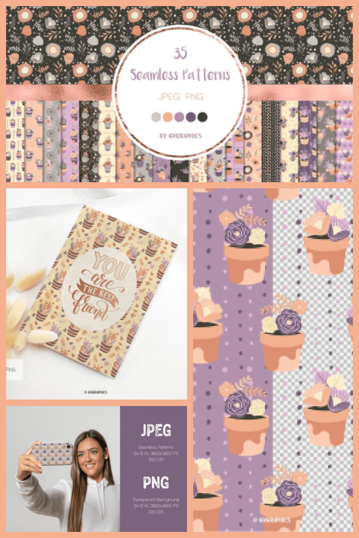 Elegant Flowers Seamless Patterns - MasterBundles - Pinterest Collage Image.