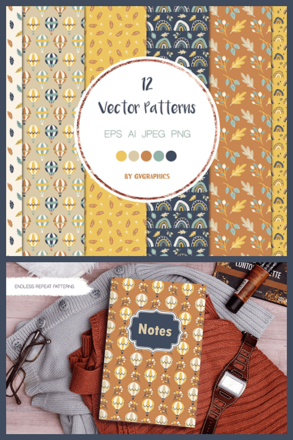 Autumn Air Baloons, Rainbows and Leaves Vector Patterns and Seamless Tiles - MasterBundles - Pinterest Collage Image.
