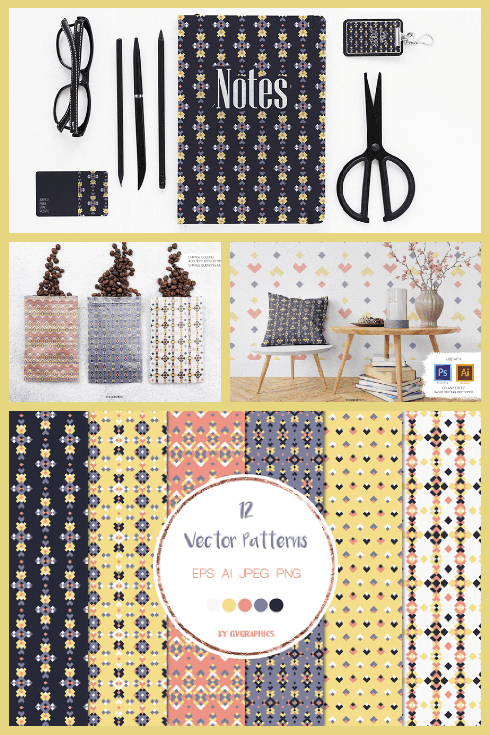 Colorful Geometric Tribal Vector Patterns and Seamless Tiles - MasterBundles - Pinterest Collage Image.