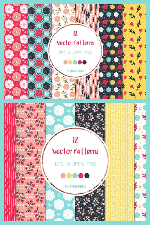Vivid Colorful Flowers, Leaves and Doodles Vector Patterns - MasterBundles - Pinterest Collage Image.