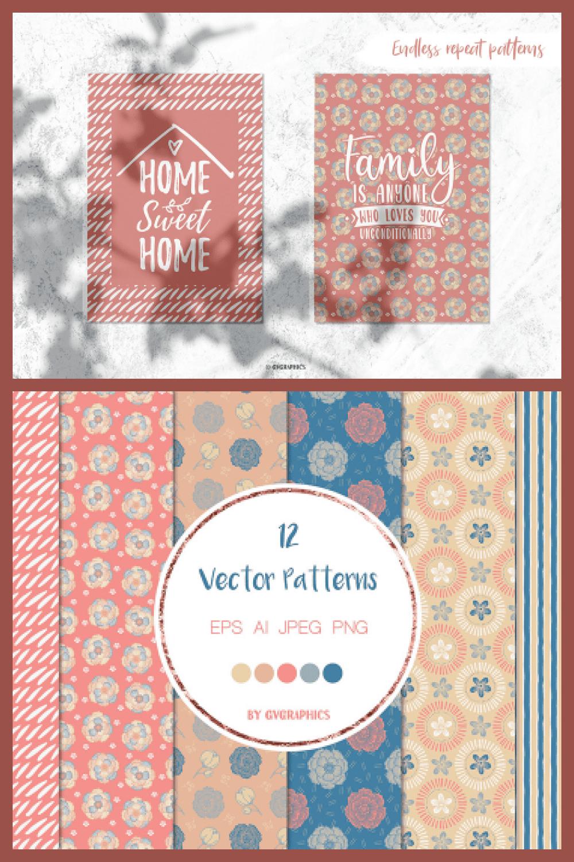Blue and Pink Nature Vector Patterns - MasterBundles - Pinterest Collage Image.