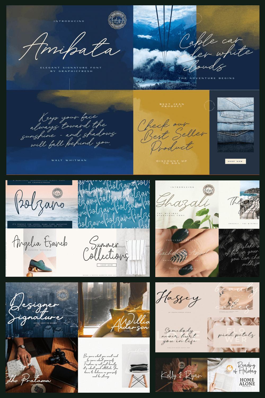 The Modern Signature Font Bundle - MasterBundles - Pinterest Collage Image.