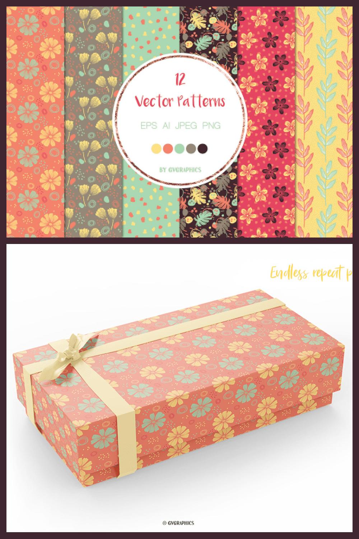 Flowers and Doodles Vector Patterns - MasterBundles - Pinterest Collage Image.