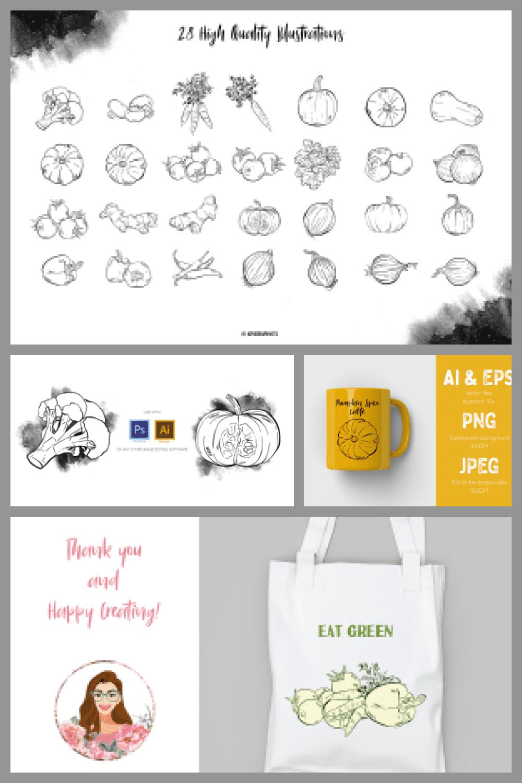 Hand Drawn Vegetables Vector Illustrations - MasterBundles - Pinterest Collage Image.