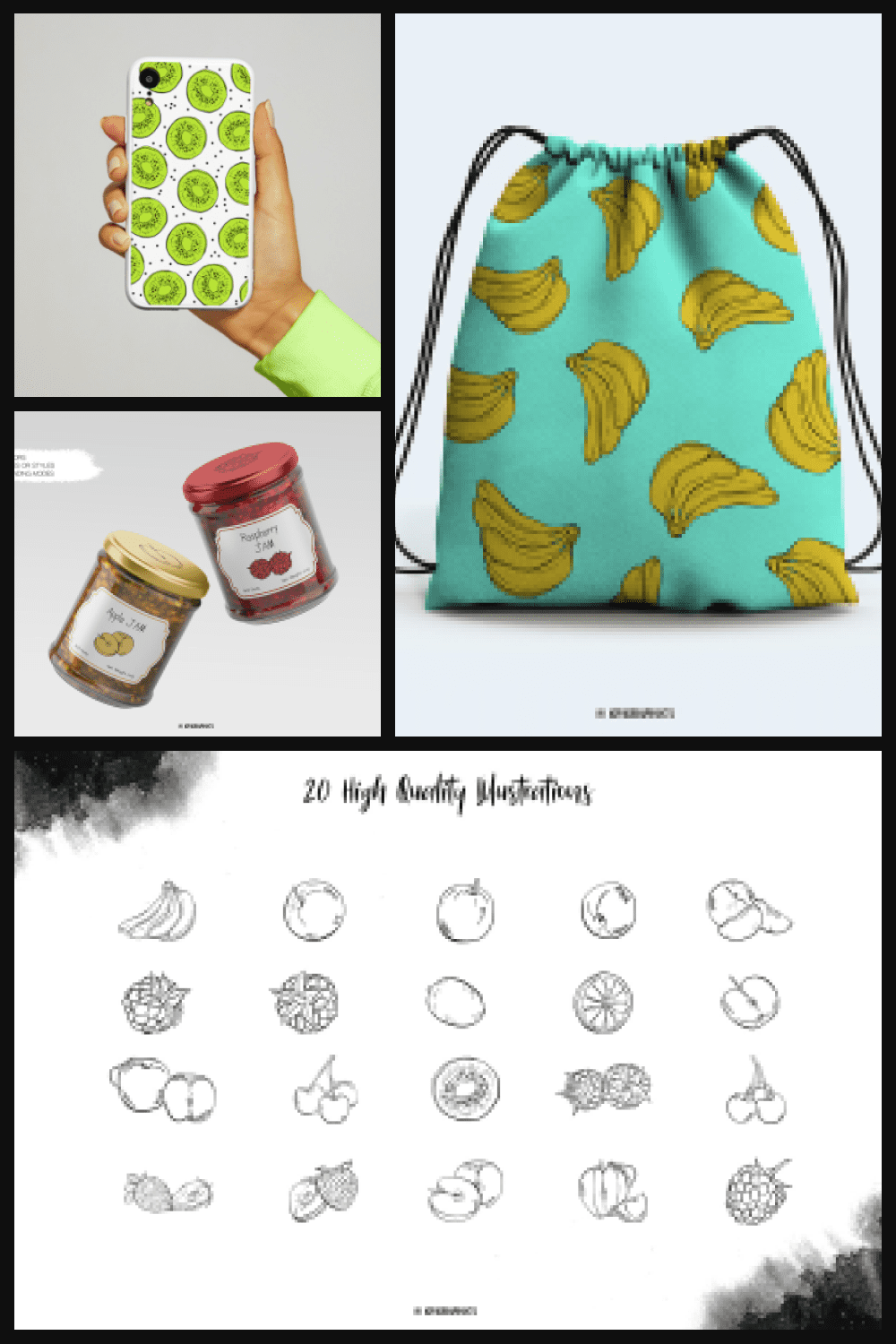 Hand Drawn Fruits Illustrations in Black and White - MasterBundles - Pinterest Collage Image.