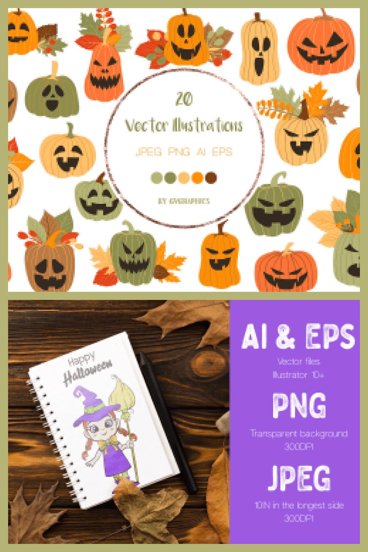 Hand Drawn Halloween Characters Vector Illustrations - MasterBundles - Pinterest Collage Image.