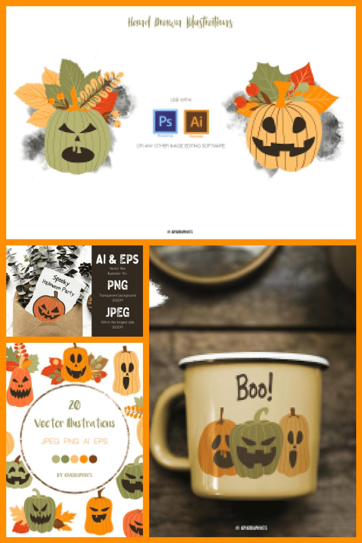 Halloween Pumpkins and Fall Leaves Vector Illustrations - MasterBundles - Pinterest Collage Image.