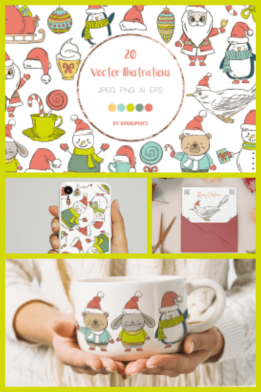 Christmas Animals, Snowmans, Santas and Elements - MasterBundles - Pinterest Collage Image.