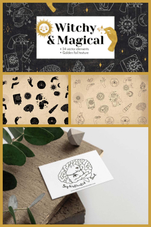 Witchy Magical Mystic Line Art - MasterBundles - Pinterest Collage Image.