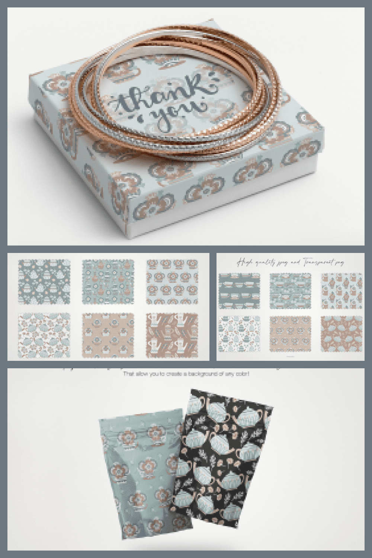 Hot Tea and Morning Flowers Seamless Patterns - MasterBundles - Pinterest Collage Image.