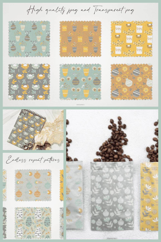 Sweet Home, House Plants Seamless Patterns - MasterBundles - Pinterest Collage Image.