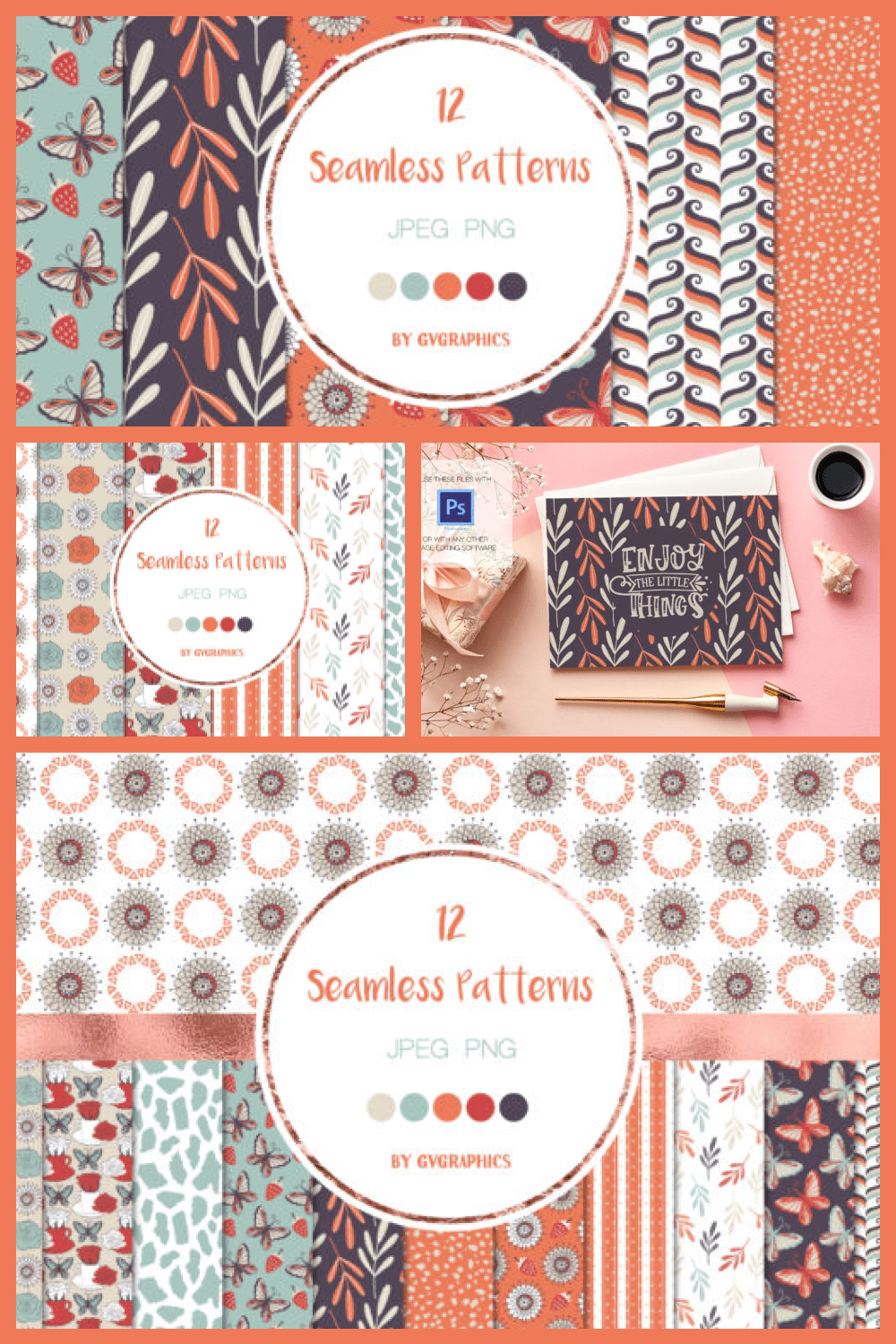 Butterflies, Roses and Strawberries Seamless Patterns - MasterBundles - Pinterest Collage Image.