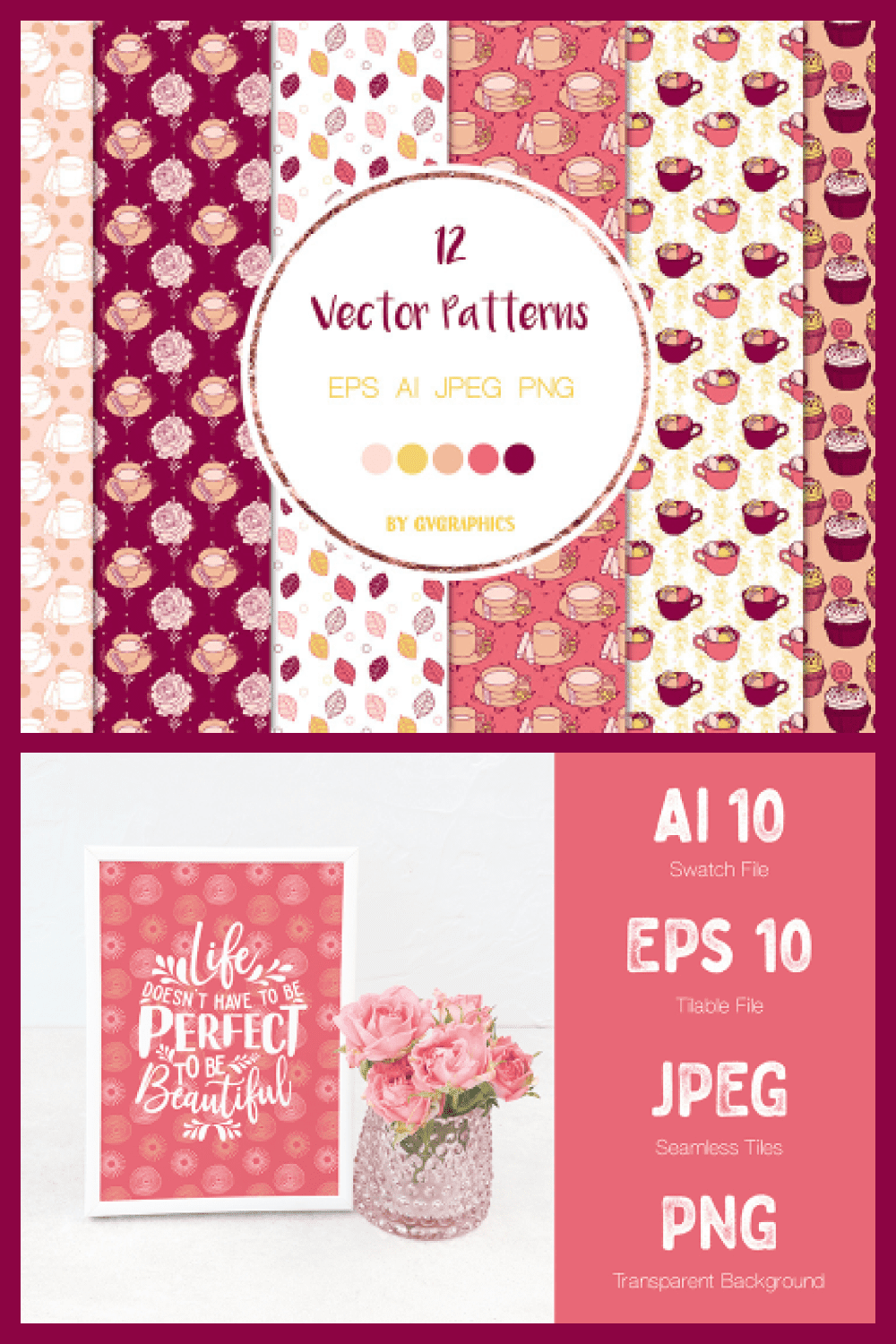 Roses, Tea Cups and Cupcakes Vector Patterns and Seamless Tiles - MasterBundles - Pinterest Collage Image.