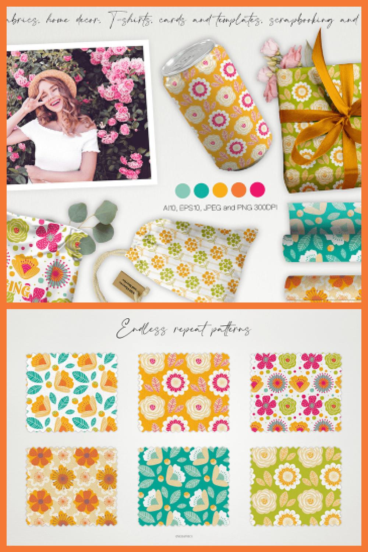 Wild Flowers and Berries Vector Patterns - MasterBundles - Pinterest Collage Image.
