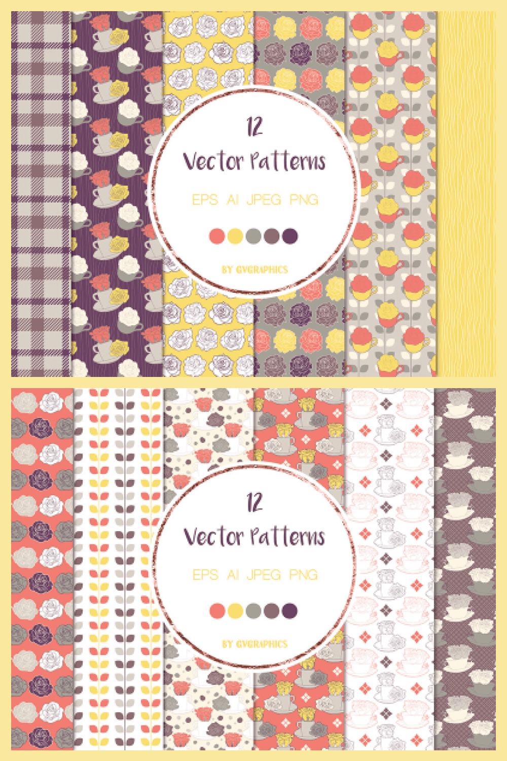 Roses and Tea Cups Vector Patterns and Seamless Tiles - MasterBundles - Pinterest Collage Image.