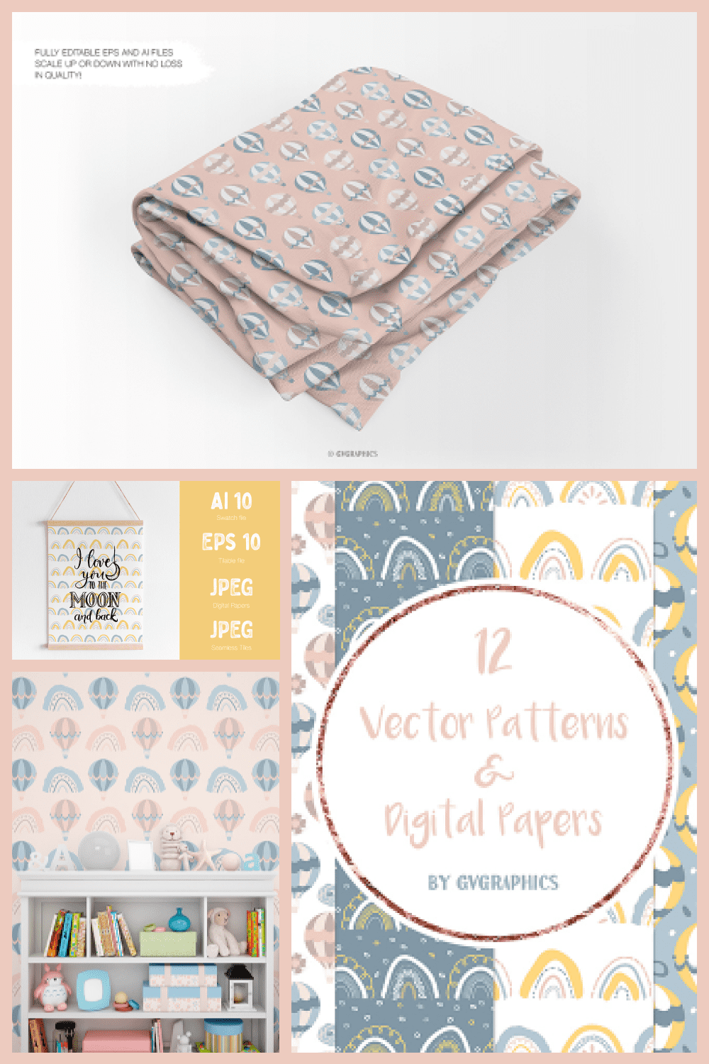 Vector Rainbows and Air Balloons Patterns and Digital Papers - MasterBundles - Pinterest Collage Image.