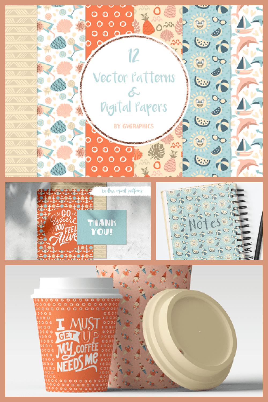 Vector Summer Patterns and Digital Papers - MasterBundles - Pinterest Collage Image.