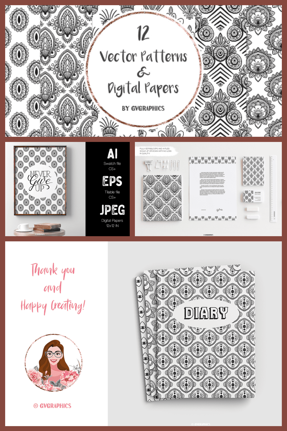 Hand Drawn Black and White Vector Patterns and Digital Papers - MasterBundles - Pinterest Collage Image.