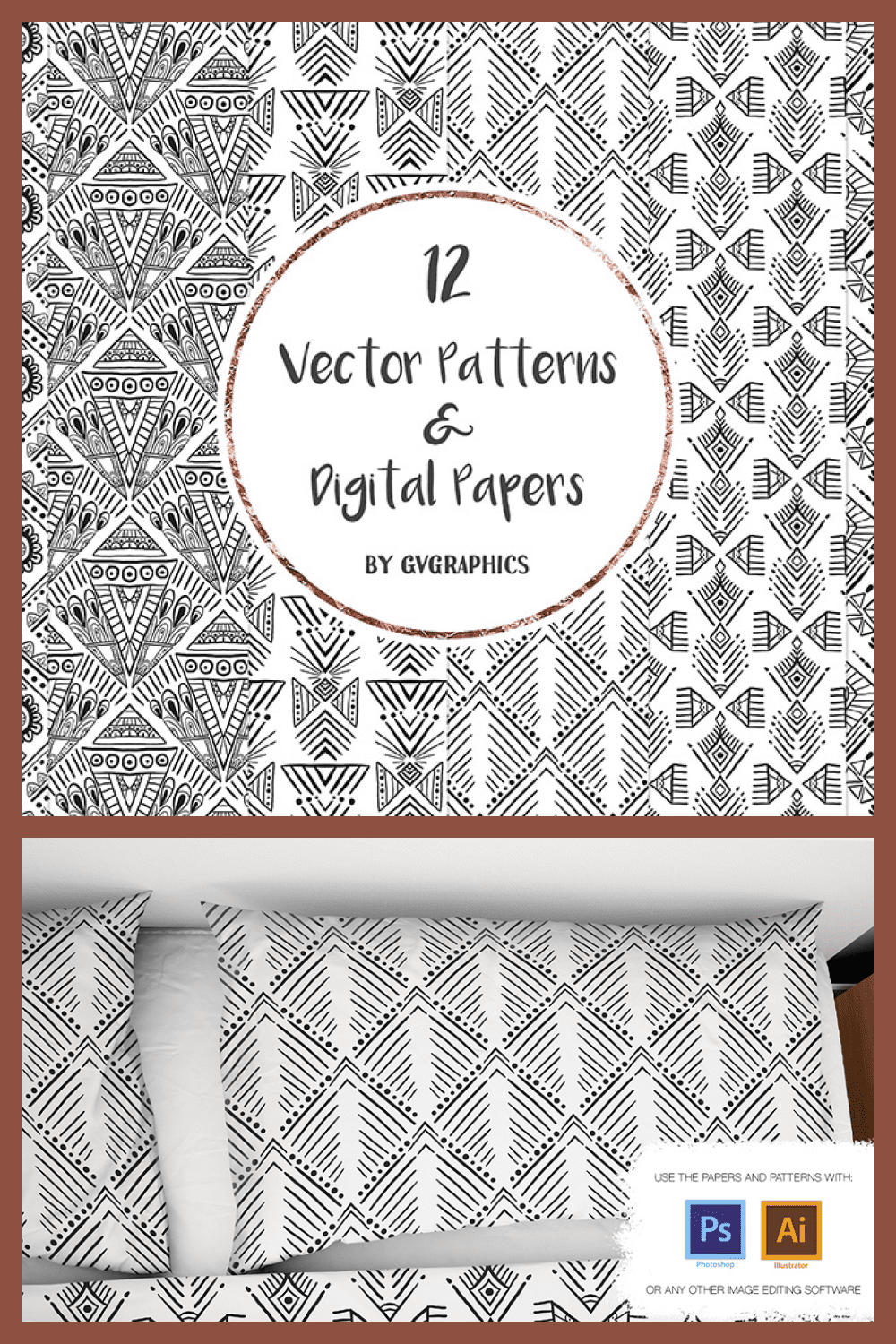 Hand Drawn Black and White Vector Patterns and Digital Papers Set 2 - MasterBundles - Pinterest Collage Image.