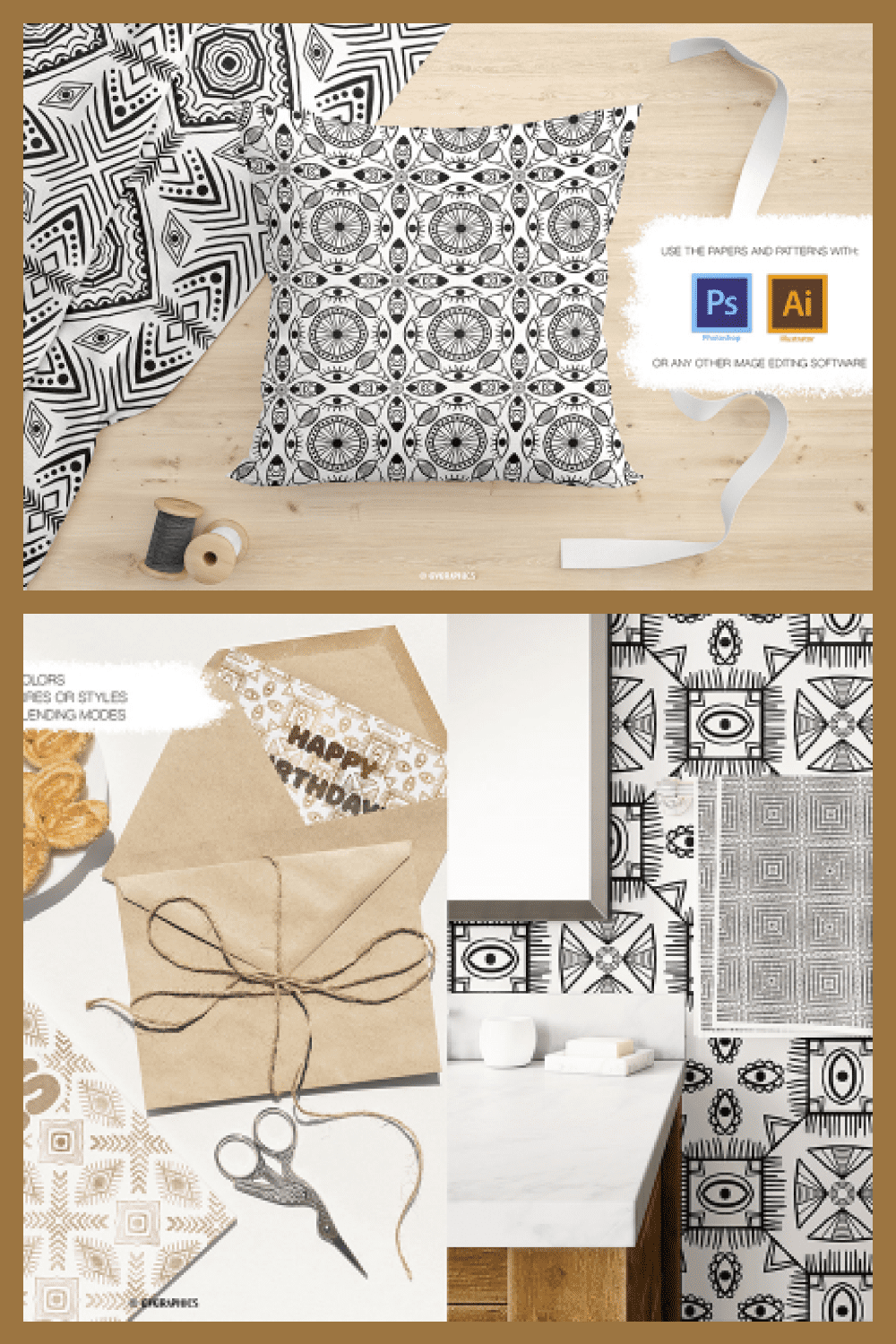 Black and White Vector Patterns and Digital Papers Set 1 - MasterBundles - Pinterest Collage Image.