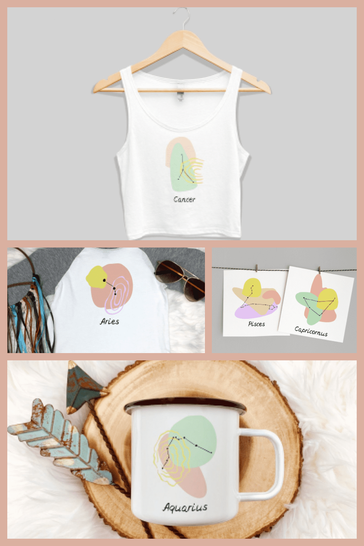 Abstract Zodiac Signs Set - MasterBundles - Pinterest Collage Image.