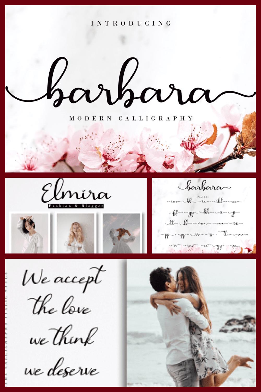 Barbara Calligraphy Script Font - MasterBundles - Pinterest Collage Image.