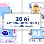 20 Artificial Intelligence Digital Brain Technology Vector Illustrations cover image.