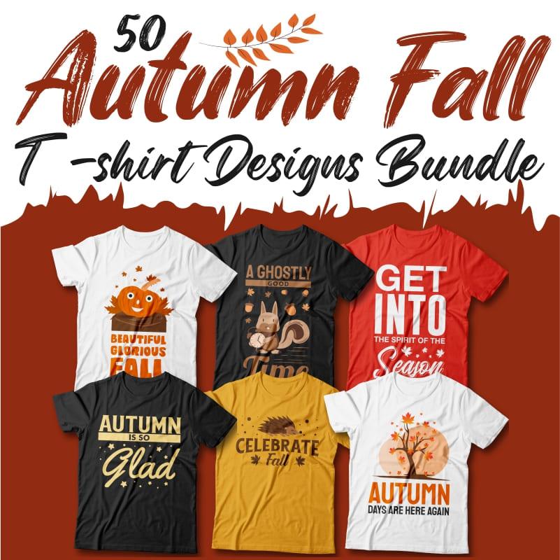50 Autumn Fall T-shirt Designs Bundle, Autumn inspiring quotes cover image.