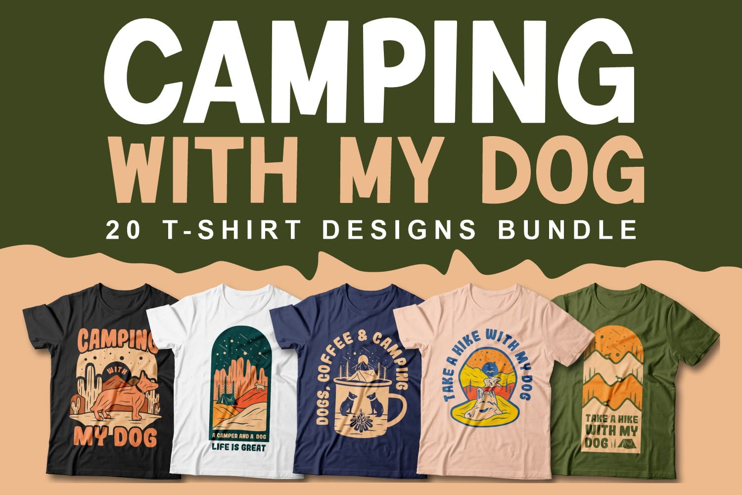 Camping with My Dog Cover image for T-shirts design.