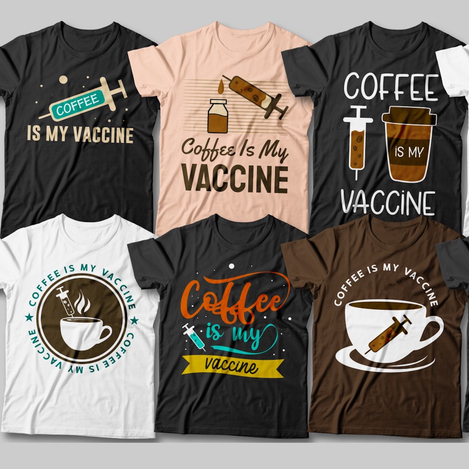 Coffee is My Vaccine T-Shirt Designs cover image.