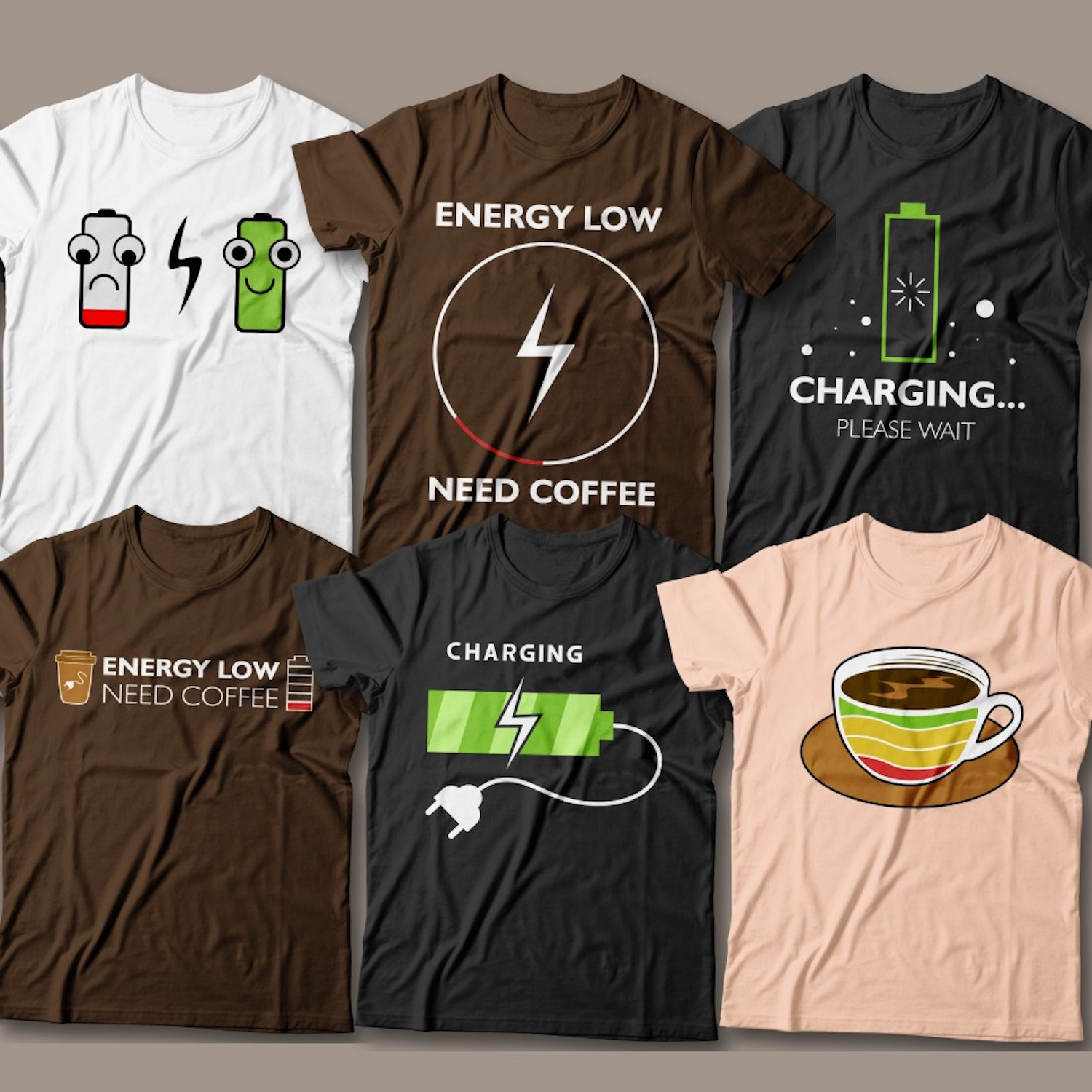 15 Coffee Charge T-Shirt Designs preview image.