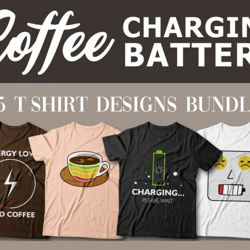 15 Coffee Charge T-Shirt Designs facebook image.