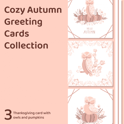 Cozy Autumn Greeting Cards Collection by MasterBundles Collage Image.