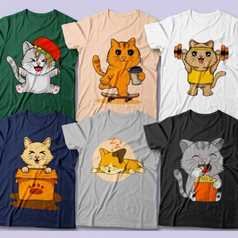 Cute Cats T-Shirt Designs preview image.