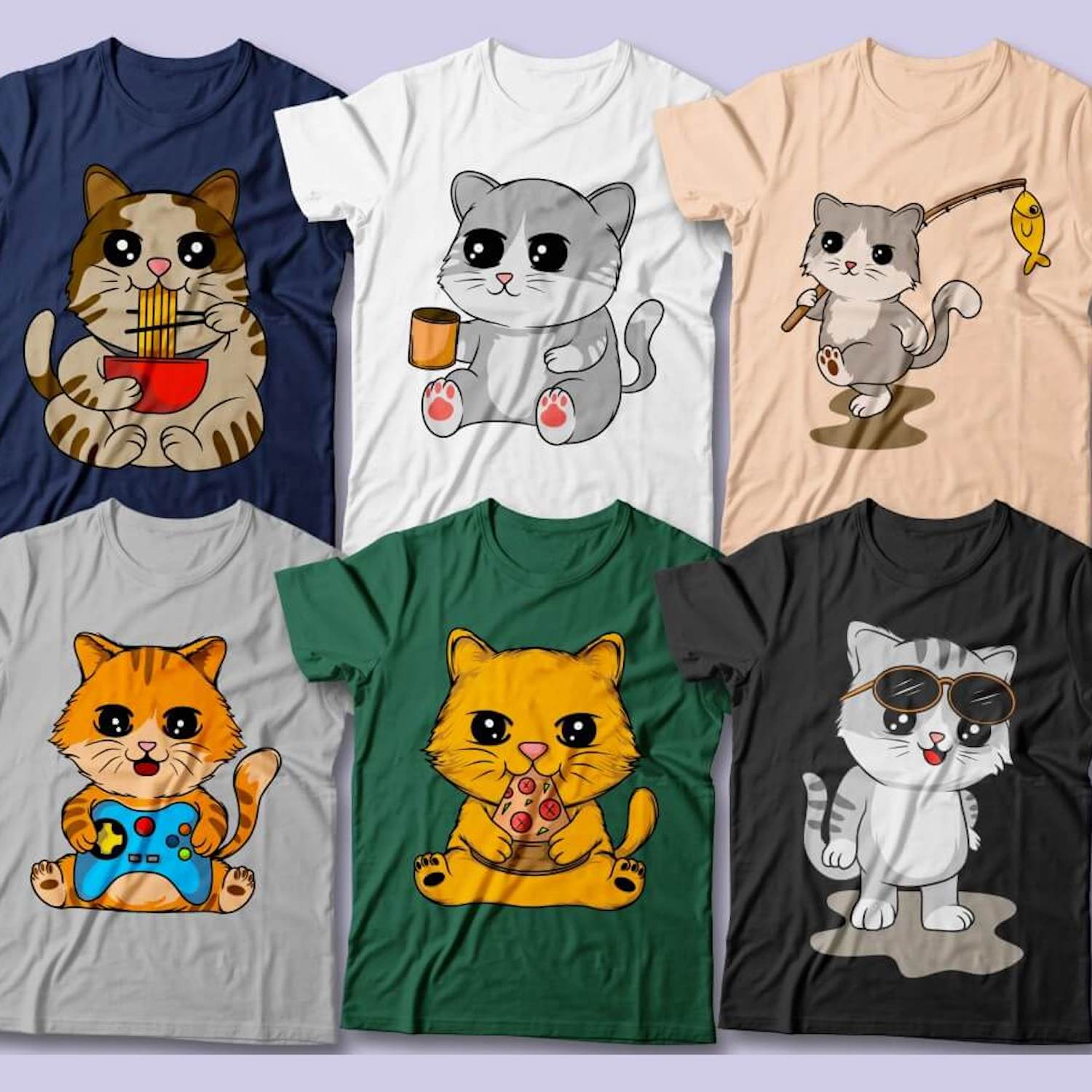 Cute Cats T-Shirt Designs cover image.