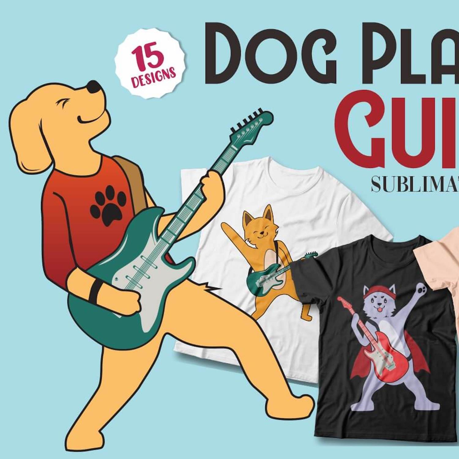 Dog Playing Guitar T-Shirt Designs cover image.