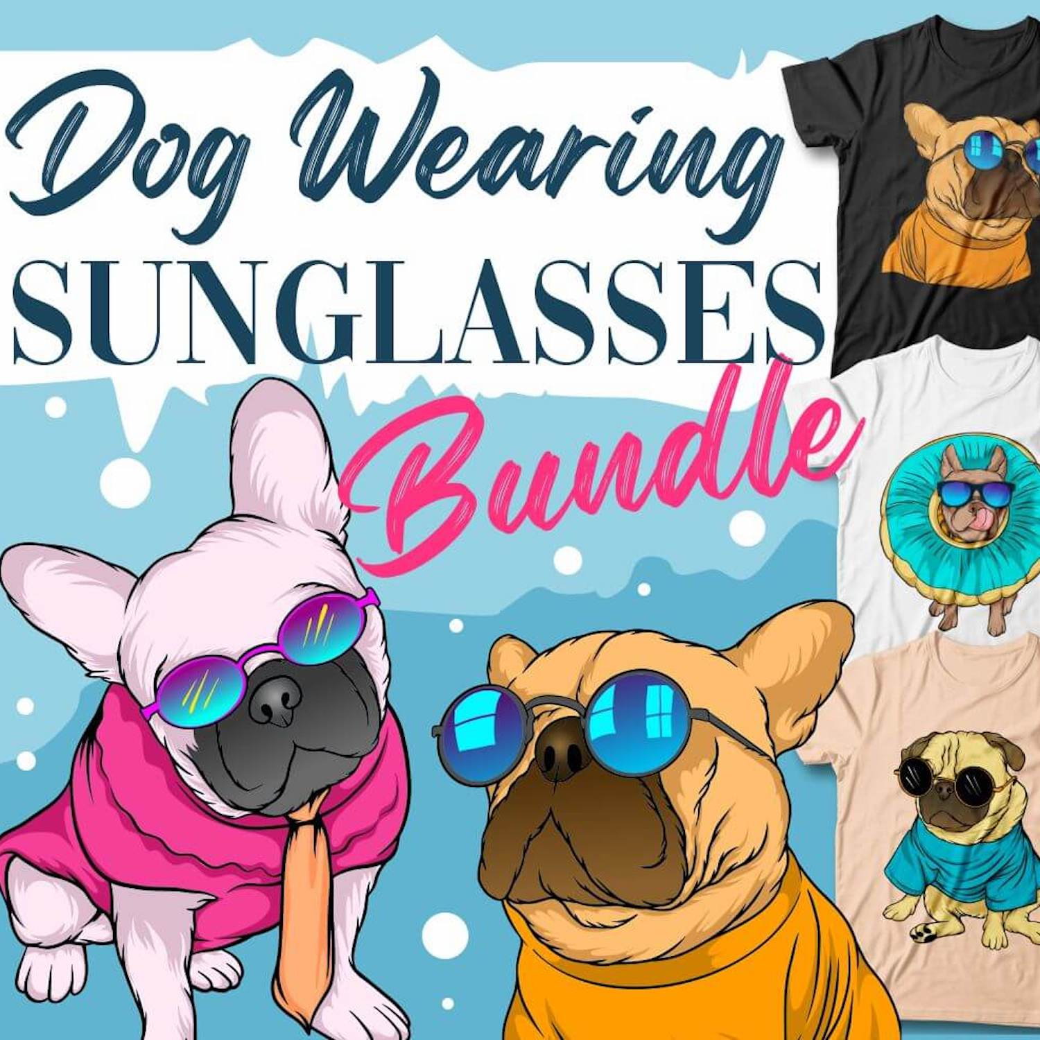 Dog Wearing Sunglasses T-Shirt Designs cover image.