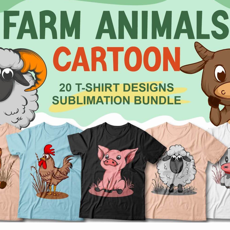 Farm Animals T-Shirt Designs cover image.