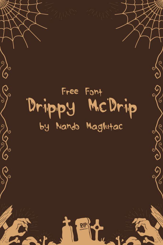 MasterBundles Free Drippy Font Halloween Pinterest Collage Image.