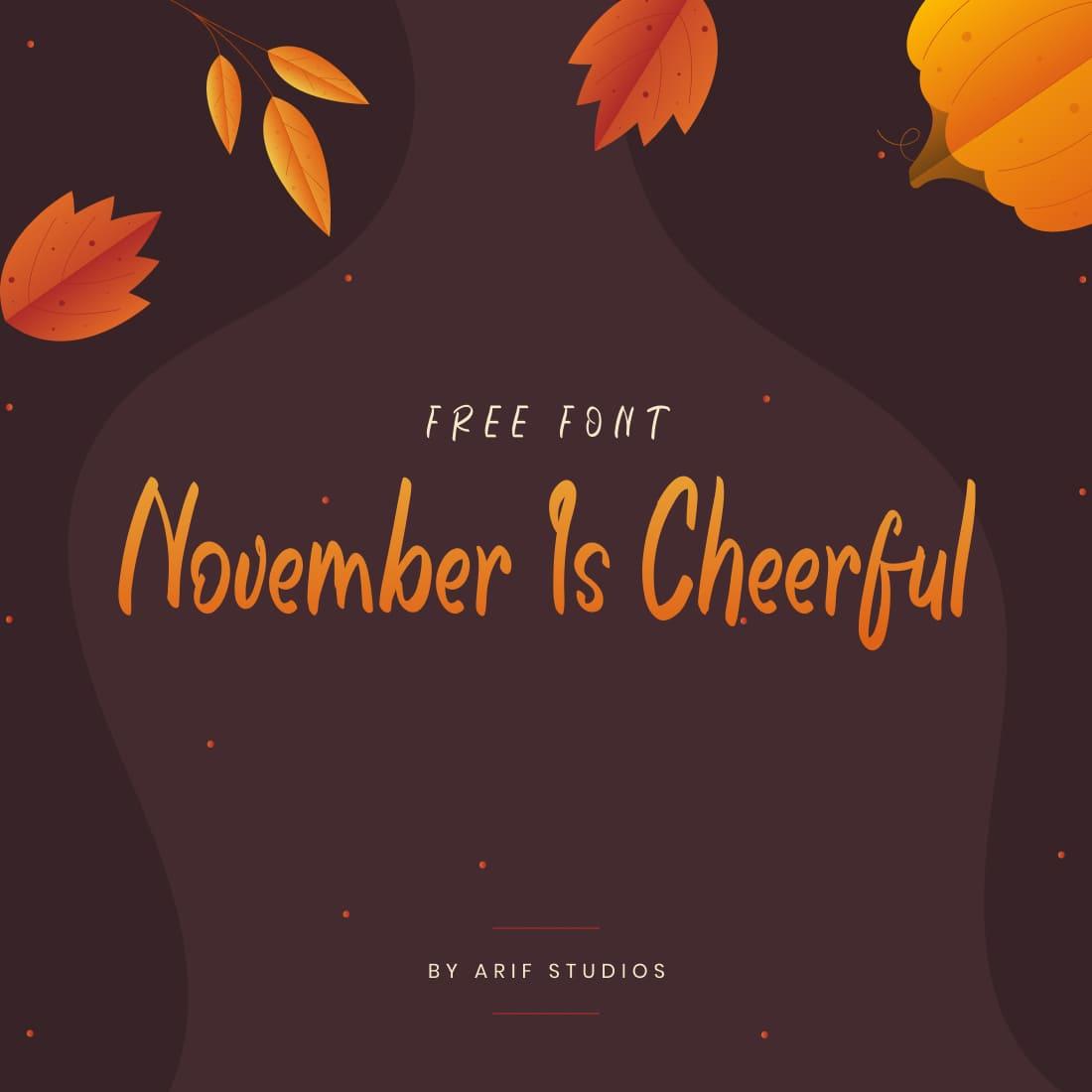 MasterBundles Free Font November Is Cheerful Main Collage Image.