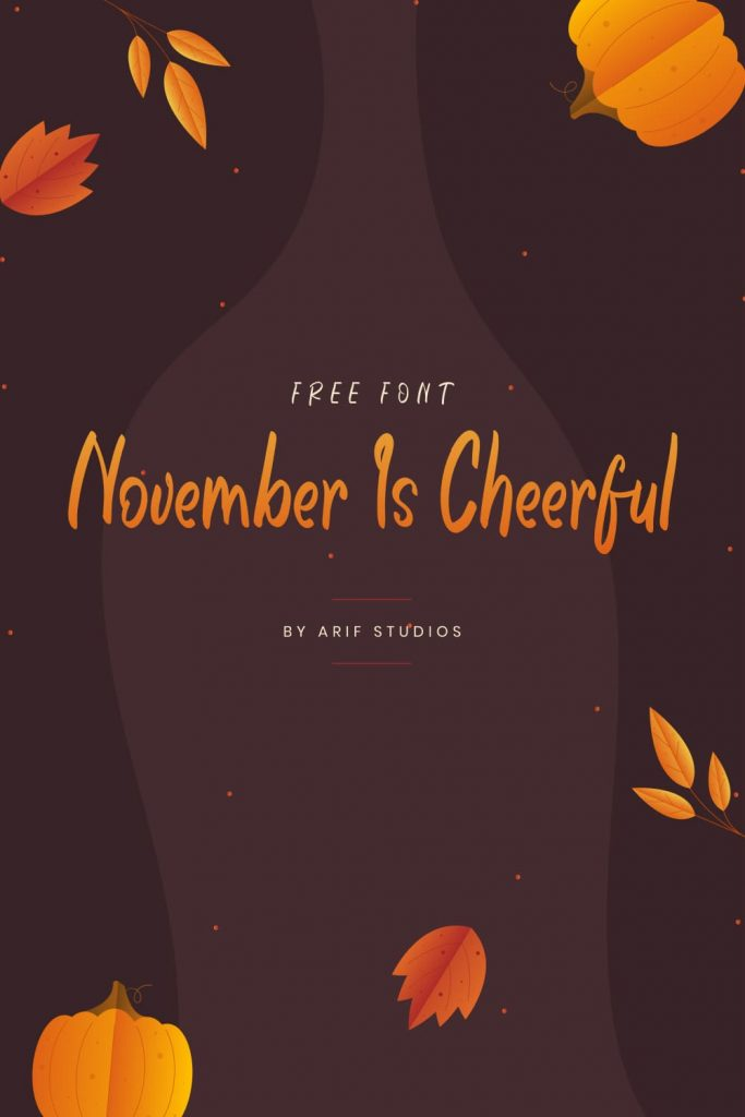 Free Font November Is Cheerful Pinterest Collage Image.